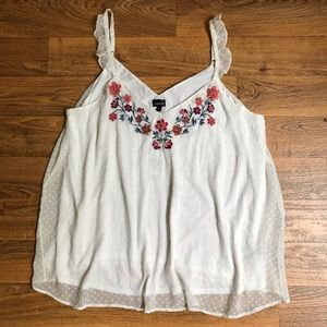 Floral Embroidered Cami Ivory Swiss Dot by Torrid
